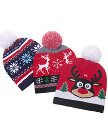 Fashion Snowflake Christmas Snowman Old Man Child Knitted Woolen Hat