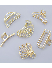 Fashion Crescent Alloy Pearl Hollow Geometric Clamp
