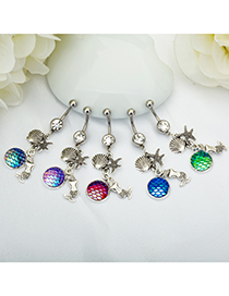 Fashion Big Red Diamond + Green Yulin Stainless Steel Diamond-studded Starfish Geometric Alloy Belly Button Nail