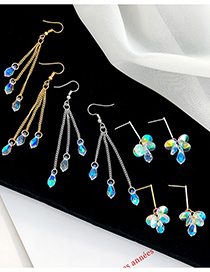Fashion Long Gold Crystal Long Chain Alloy Geometric Earrings