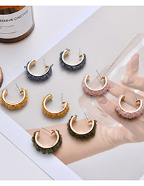 Fashion Yellow Plush Metal C-shaped Lamb Hair Alloy Earrings