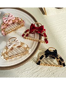 Fashion Beige Butterfly Combined With Gold Hollow Geometric Shape Catch