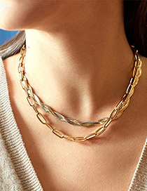 Fashion Button Necklace Twisted Geometric Shape Alloy Hollow Necklace