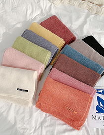 Fashion Beige Pure Color Letter Mark Wool Knitted Scarf