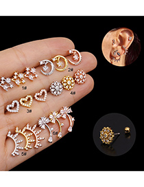 Fashion Rose Gold Flower Geometric Stainless Steel Threaded Micro-inlaid Zircon Earrings