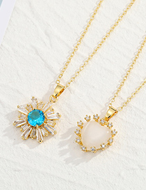 Fashion Heart Shaped Opal Pendant Crystal Sunflower Heart-shaped Real Gold Plated Pendant Necklace