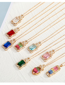 Fashion Long Blue Yellow Powder Geometric Alloy Necklace With Diamond Imitation Gemstone Pendant