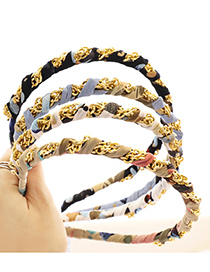 Fashion Blue Printing Printed Fabric Winding Chain Hair Band