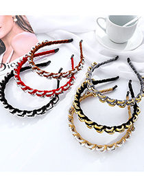 Fashion Gray+gold Color Yellow Metal Chain Winding Alloy Fabric Hair Band