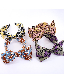 Fashion Yellow Bow Print Letter Wide-brim Hair Band