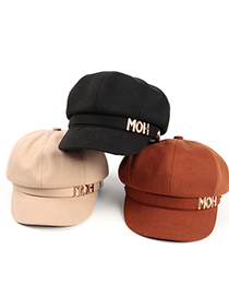 Fashion Brown Metal Letter Woolen Hard Edge Octagonal Hat
