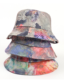 Fashion Mixing 3 Printed Ink Painting Tie-dye Fisherman Hat