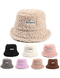 Fashion Beige Lamb Wool Warm Letter Sticker Fisherman Hat