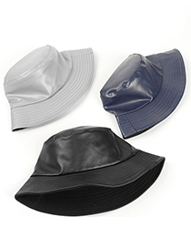 Fashion Navy Pu Leather Light Board Double-sided Fisherman Hat