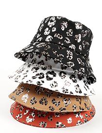 Fashion Caramel Leopard Patent Leather Print Fisherman Hat