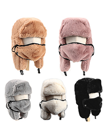 Fashion Skin Powder Lamb Velvet Thick Warm Ear Protection And Windproof Hedging Lei Feng Hat