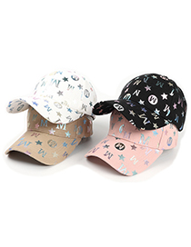 Fashion Pink Alphabet Star Print Baseball Cap