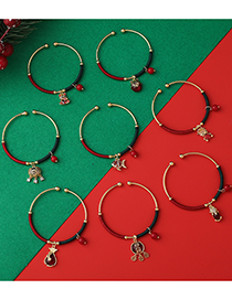 Fashion Copper Coin Lock Small Fish Gourd Brave Red String Winding Open Bracelet