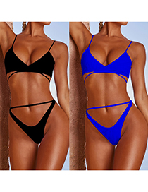 Fashion Sapphire Solid Color Bandage Knotted Swimsuit