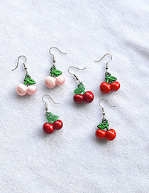 Fashion Light Pink Artificial Cherry Alloy Resin Earrings
