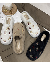 Fashion Creamy-white Embroidered Crown Bee And Velvet Warm Flat Beanie Shoes