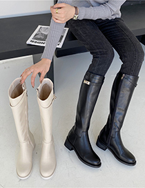 Fashion Apricot Belt Buckle Block Heel Boots