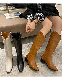Fashion Brown Thick-heel Pointed High-top Rider Boots
