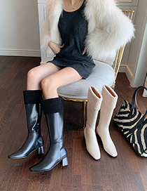 Fashion Creamy-white Fuzzy Thick Heel Square Toe High-top Rider Boots