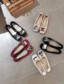 Fashion Burgundy Suede Mandarin Duck Buckle Shallow Mouth Square Toe Flat Shoes