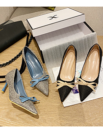 Fashion Gray Pointed Bow High-heel Woven Shoes