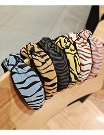 Fashion Light Blue Leopard Fabric Striped Twisted Headband