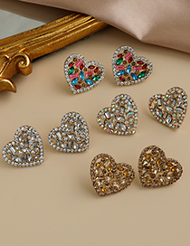 Fashion White Alloy Diamond Hollow Heart Earrings