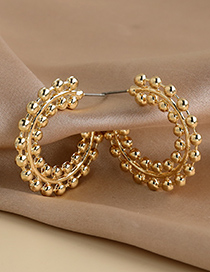 Fashion Golden Alloy Round Bead Earrings