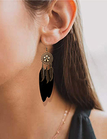 Fashion Red Alloy Flower Feather Tassel Earrings