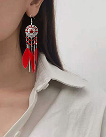 Fashion Color Mixing Feather Round Oil Drop Sun Flower Earrings