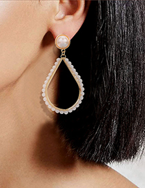 Fashion Round Alloy Inlaid Pearl Geometric Hollow Earrings