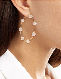 Fashion Big 6cm Pearl Beaded Round Alloy Earrings