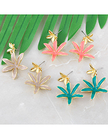 Fashion Green Drop Oil Flower Alloy Earrings