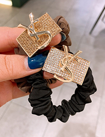 Fashion Coffee Color Full Diamond Letter Buckle Block Alloy Elastic Hair Rope