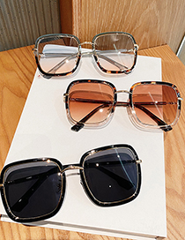 Fashion Pink On Top And Blue On Bottom Frame Alloy Gradient Uv Protection Sunglasses