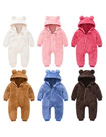 Fashion Dark Brown Cubs Ears Newborn One-piece Wool Sweater Romper