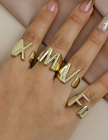 Fashion Y 26 Letters Open Ring In Copper