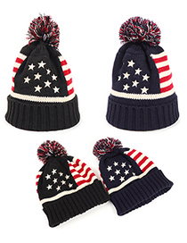 Fashion Navy Embroidered Five-pointed Stars And Stripes Cuffed Woolen Hat
