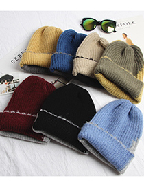 Fashion Burgundy + Grey Lace Color Matching Thick Warm Knitted Woolen Hat