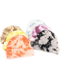 Fashion Brown Tie-dye Curled Knitted Woolen Hat