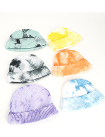 Fashion Blue And White Tie-dye Curled Childrens Wool Knitted Hat