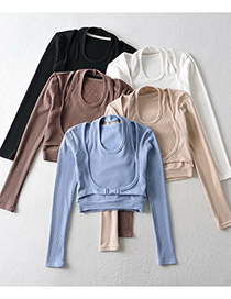 Fashion Beige Fake 2 Pieces Of Pure Cotton Stitching Long-sleeved T-shirt Top