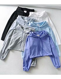 Fashion Lake Blue Hooded Wide Loose Sweater Top