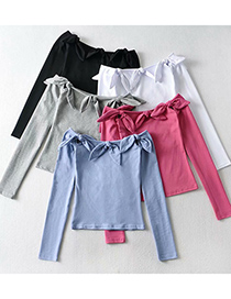 Fashion Blue One-shoulder Bowknot Long-sleeved Slim T-shirt Top