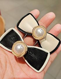 Fashion White Pu Leather Bow Pearl Alloy Hair Clip